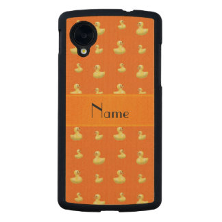 Personalized name orange rubber duck pattern carved® maple nexus 5 case