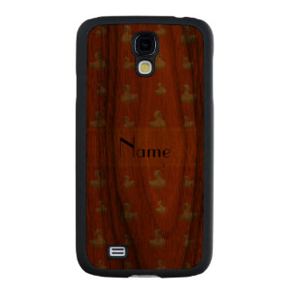 Personalized name orange rubber duck pattern carved® walnut galaxy s4 slim case