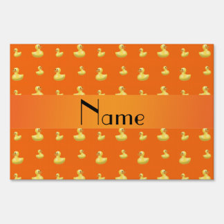 Personalized name orange rubber duck pattern yard signs