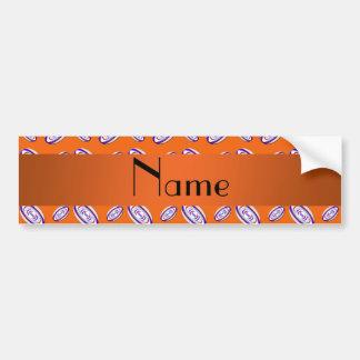 Personalized name orange rugby balls car bumper sticker