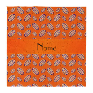 Personalized name orange rugby balls coasters