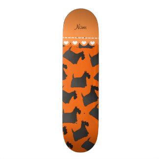 Personalized name orange scottish terrier dogs skateboard