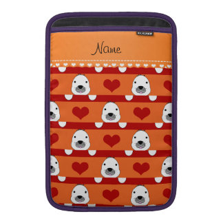 Personalized name orange seals red hearts stripes MacBook air sleeves