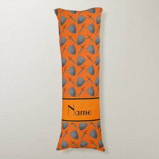 Personalized name orange shields and swords body pillow