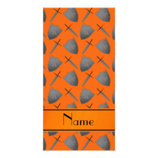 Personalized name orange shields and swords customized photo card