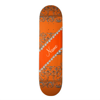 Personalized name orange silver lace skate board decks