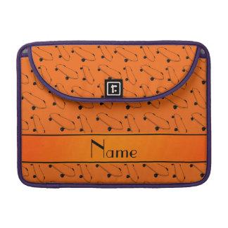 Personalized name orange skateboard pattern sleeve for MacBook pro