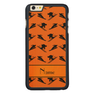 Personalized name orange ski pattern carved maple iPhone 6 plus case