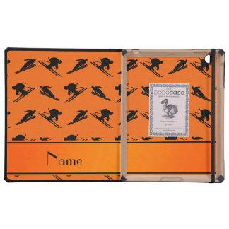 Personalized name orange ski pattern iPad covers