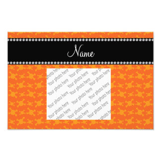Personalized name orange skulls pattern photo print