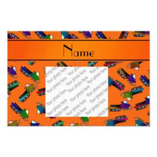 Personalized name orange snowmobiles photo print