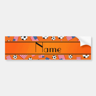 Personalized name orange soccer american flag bumper stickers