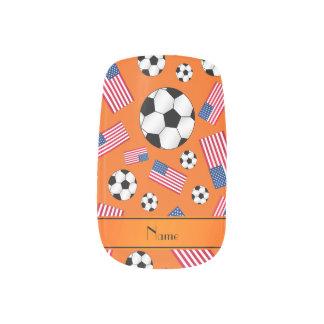 Personalized name orange soccer american flag minx ® nail art