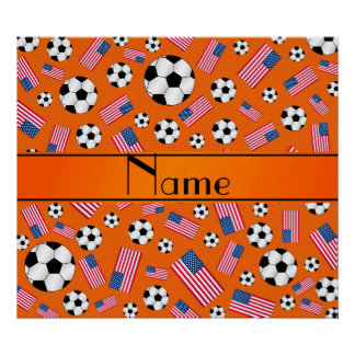 Personalized name orange soccer american flag poster