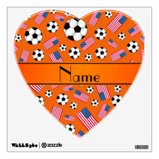 Personalized name orange soccer american flag room graphic