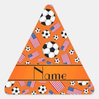 Personalized name orange soccer american flag triangle sticker
