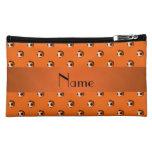 Personalized name orange soccer balls cosmetics bags