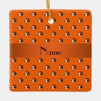 Personalized name orange soccer balls ceramic ornament