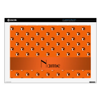 "Personalized name orange soccer balls decals for 17"" laptops"