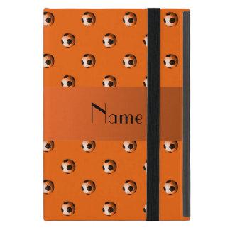 Personalized name orange soccer balls iPad mini case