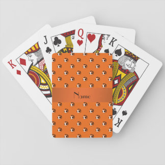 Personalized name orange soccer balls playing cards