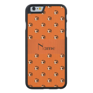 Personalized name orange soccer balls carved® maple iPhone 6 case