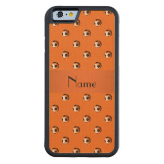 Personalized name orange soccer balls carved® maple iPhone 6 bumper case