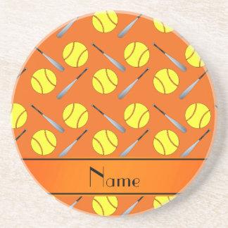 Personalized name orange softball pattern beverage coaster