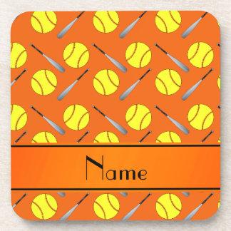 Personalized name orange softball pattern beverage coasters