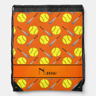 Personalized name orange softball pattern drawstring backpack