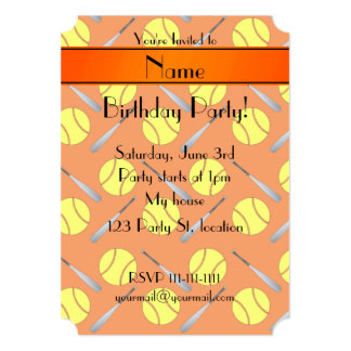Personalized name orange softball pattern 5x7 paper invitation card