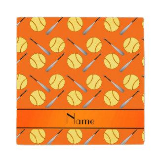 Personalized name orange softball pattern maple wood coaster
