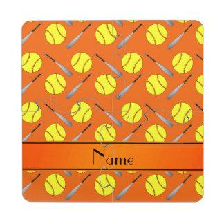 Personalized name orange softball pattern puzzle coaster