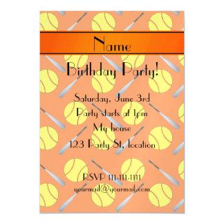 Personalized name orange softball pattern magnetic invitations