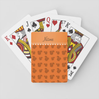 Personalized name orange squirrel pattern playing cards