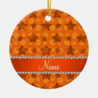 Personalized name orange stars volleyballs ceramic ornament