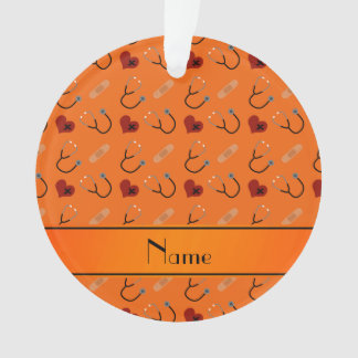 Personalized name orange stethoscope bandage heart