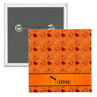 Personalized name orange stethoscope bandage heart pinback button