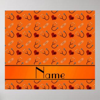 Personalized name orange stethoscope bandage heart poster