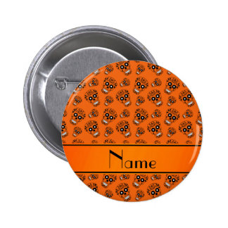 Personalized name orange sugar skulls 2 inch round button