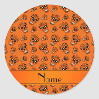 Personalized name orange sugar skulls classic round sticker