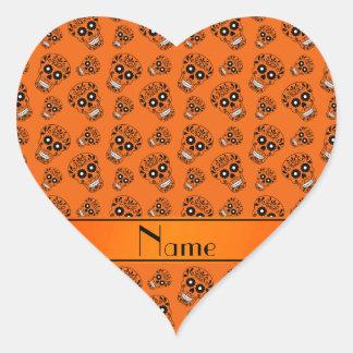 Personalized name orange sugar skulls heart sticker