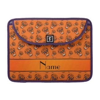 Personalized name orange sugar skulls sleeve for MacBooks