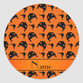 Personalized name orange sumo wrestling classic round sticker