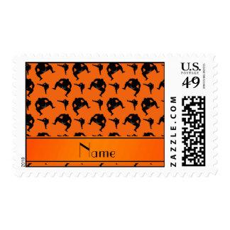 Personalized name orange sumo wrestling stamp
