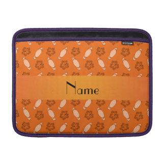 Personalized name orange surfboard pattern MacBook sleeve