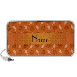Personalized name orange surfboard pattern travel speaker