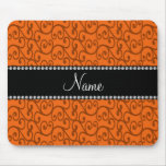 Personalized name orange swirls mouse pad