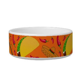 Personalized name orange tacos sombreros chilis pet food bowl