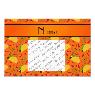 Personalized name orange tacos sombreros chilis photo print